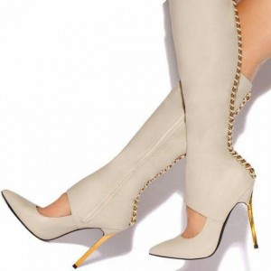 Ivory Fashion Boots Cut Out Pointy Toe Stiletto Heel Knee High Boots