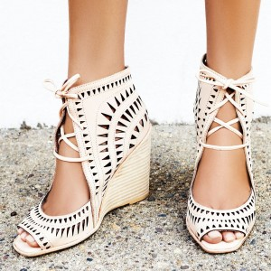 Ivory Hollow Out Lace Up Peep Toe Wedge Heels Sandals