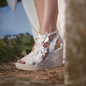 Ivory Lace Floral Platform Wedding Sandals Peep Toe Wedge Sandals
