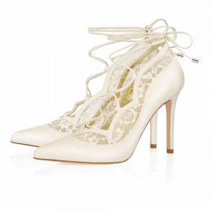 Ivory Lace Up Bridal Heels Lace Stiletto Heel Pumps