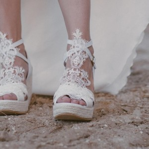Ivory Lace Wedges Wedding Sandals Peep Toe Platform Sandals