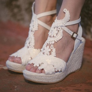 Ivory Lace Wedges Wedding Sandals Peep Toe Slingback Platform Sandals