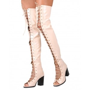 Ivory Peep Toe Lace up Chunky Heel Boots Over-the-knee Boots