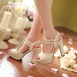 Ivory T Strap Sandals Peep Toe Buckle Chunky Heels Platform Sandals