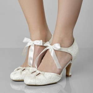 Ivory Wedding Shoes Satin Bow Floral Chunky Heel Pumps