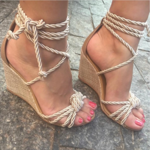 Custom Made Gold Rope Wedges Sandals