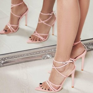 Pink Stiletto Heel Strappy Sandals
