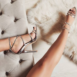 Silver Metallic Stiletto Heel Strappy Sandals