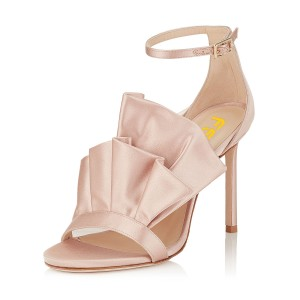 Women's Blush Lace stiletto Heel Ankle Strap Sandals