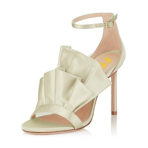 Champagne Ruffle Stiletto Heel Ankle Strap Sandals for Wedding