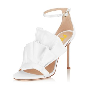 Women's White Ruffle Stiletto Heel Ankle Strap Sandals