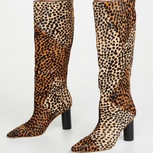 Khaki and Brown Horsehair Leopard Print Boots Knee High Boots