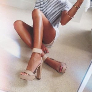 Khaki Chunky Heel Platform Sandals Open Toe  Ankle Strap Sandals