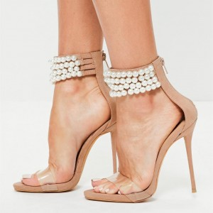 Khaki Open Toe Pearl Clear Summer Sandals Perspex High Heel Sandals