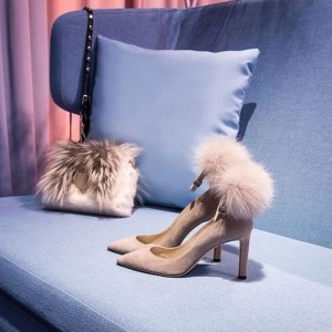 Blush Fur Heels Pointy Toe Ankle Strap Pumps