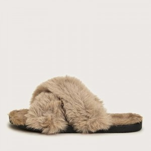 Khaki Furry Women's Slide Sandals