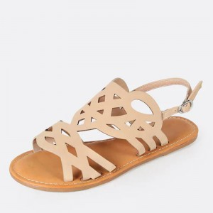 Khaki Hollow Out Flat Slingback Sandals