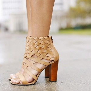 Khaki Knitting Chunky Heel Sandals for Women