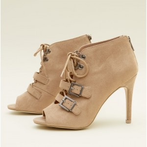 Khaki Lace up Summer Boots Peep Toe Buckles Ankle Booties with Zipper