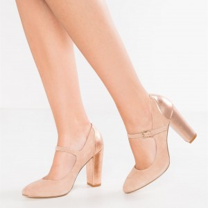 Nude Mary Jane Shoes Rose Gold Chunky Heels Round Toe Pumps
