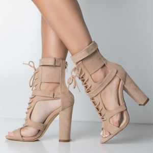 Khaki Peep Toe Lace up Heels Suede Chunky Heels Strappy Sandals