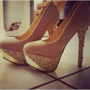 Khaki Platform Heels Suede Studded Pumps High Heel Shoes
