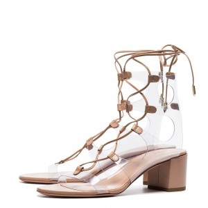 Khaki PU PVC Clear Chunky Heels Open Toe Lace Up Sandals