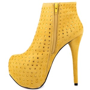 Yellow Rhinestone Fashion Boots Stiletto Heel Platform Ankle Boots