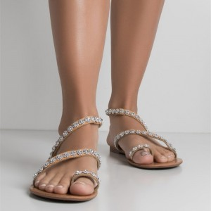 Camel Rhinestone Sandals Comfortable Flats Beach Sandals