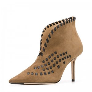 Khaki Suede Boots Pointed Toe Stiletto Heel Ankle Boots