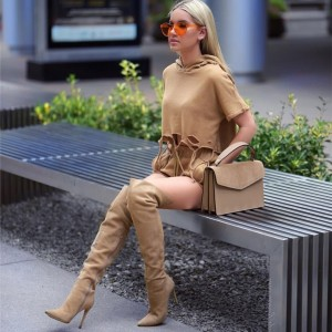 Khaki Suede Boots Stiletto Heel Pointy Toe Over the Knee Boots