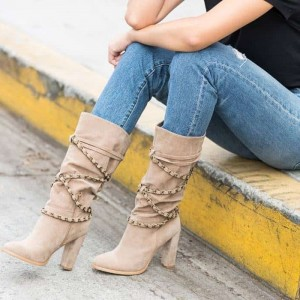 Khaki Suede Boots Straps Chunky Heel Mid Calf Boots