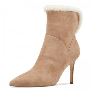 Khaki Suede Fur Winter Boots Pointed Toe Stiletto Heel Ankle Boots