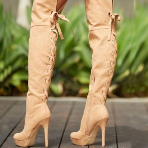 Khaki Suede Platform Boots Lace Up Over the Knee Boots