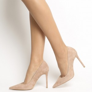 Khaki Suede Stiletto Heels Pointy Toe Pumps for Office Ladies