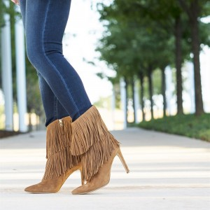 Khaki Fringe Boots Pointy Toe Stiletto Heel Suede Ankle Booties