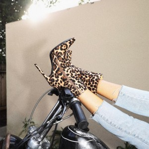 Khaki Zip Stiletto Heel Leopard Booties Ankle Boots