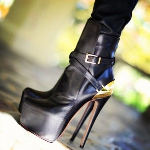 Black and Gold Buckles Platform Boots Stripper Heels Stiletto Boots