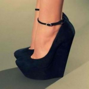 Leila Black Women's Wedge Heels Sexy Ankle Strap Pumps