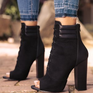 Lelia Black Peep Toe Suede Chunky Heels Lace Up Strappy Ankle Boots