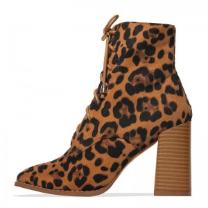 Leopard Print Boots Chunky Heel Lace Up Ankle Boots