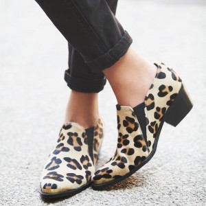 Leopard Print Boots Chunky Heel Slip on Chelsea Boots for Women