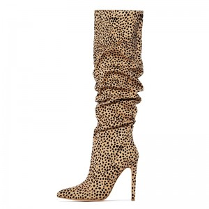 Leopard Print Boots Stiletto Heel Knee High Slouch Boots