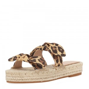 Leopard Print Bow Platform Women's Slide Sandals