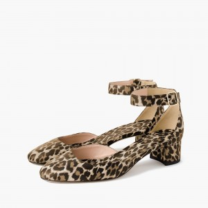 Leopard Print Heels Ankle Strap Chunky Heel Square Toe Sandals