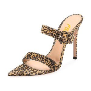 Leopard Print Heels Mule Open Toe Stiletto Heels Sandals