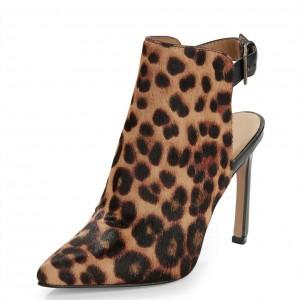 Women's Leopard Print Boots Pointy Toe Slingback Ankle Booties