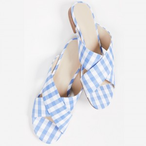 Light Blue and White Plaid Satin Flats Women's Slide Sandals