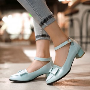 Light Blue Ankle Strap Chunky Heels Bow Pumps School Shoes