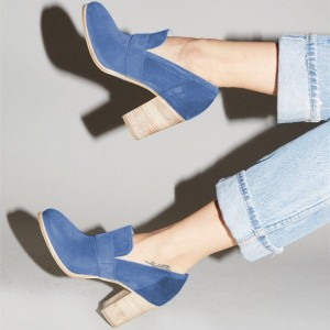 Blue Round Toe Block Heels Suede Heeled Loafers for Women